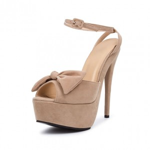 Nude Bows Ankle Strap Peep Toe Platform Stiletto Heel Sandals
