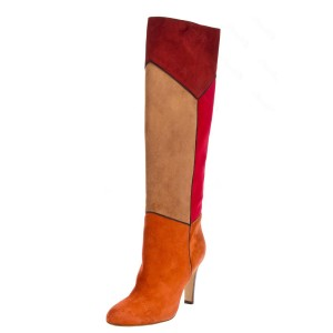 Wine Red and Orange Stitching Color Knee-High Boots