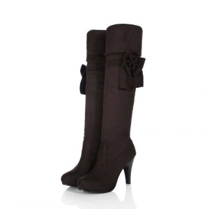 Women's Black Fashion Boots Cone Heel Knee High Bow Boots