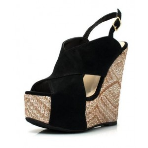 Black Suede Heeled Wedges Peep Toe Crisscross Strap Slingback Sandals