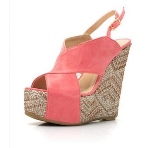 Pink Suede Heeled Wedges Peep Toe Crisscross Strap Slingback Sandals