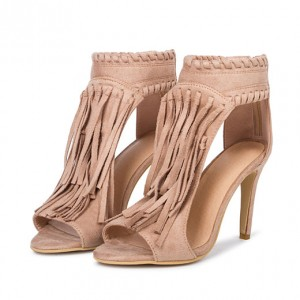 Khaki Fringe Sandals Open Toe 3 Inches Stiletto Heels Shoes