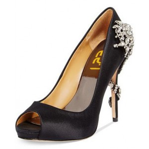 Black Dress Shoes Crystal Snowflake Decorated Peep Toe Heels