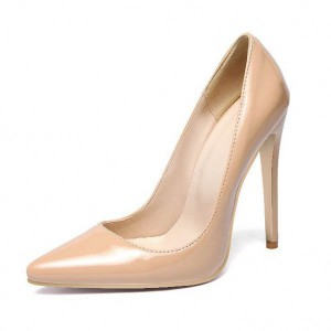 Women's Nude Commuting Low-cut Pointed Toe Stiletto Heel Pumps Office Heels