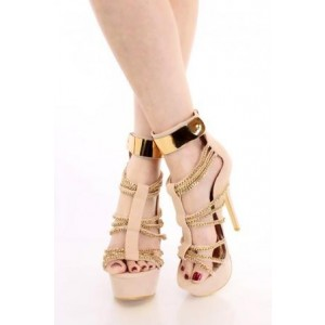 Nude Metal Chains Wrapped Platform Stiletto Heels Sandals