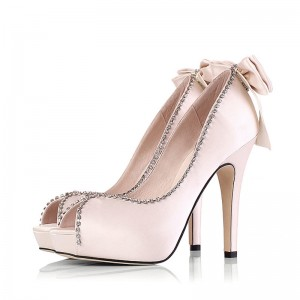 Champagne Bridal Heels Peep Toe Rhinestone Platform Pumps with Bow