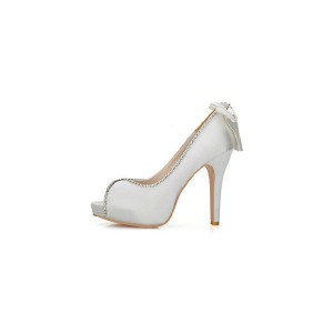 Silver Bows Back Stiletto Heel Pumps