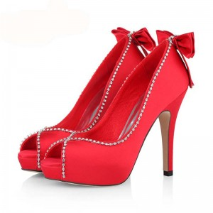 Women's Coral Red Bow Stiletto Heel Pumps Bridal Heels