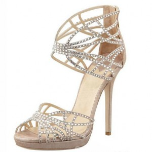 Women's Beige Wedding Sandals Sequined Stiletto Heels Platform Shoes