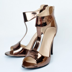 Champagne Mirror Leather T-strap Ankle Strap Peep Toe Stiletto Heel Sandals