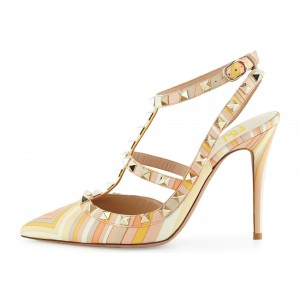 Yellow Stripes Studs Shoes T Strap Stiletto Heel Pumps