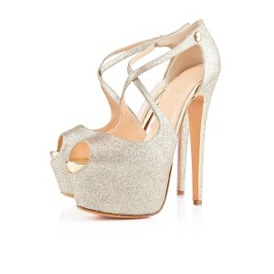 Women's Champagne Crossed-over Peep Toe Platform Stiletto Heel Sandals Glitter Shoes