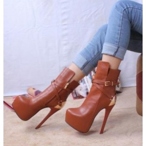 Women's Brown Platform Heels Buckle Almond Toe Stiletto Heels Ankle Booties