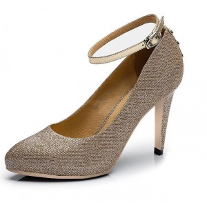 Golden Almond Toe Ankle Strap Stiletto Heel Wedding Shoes
