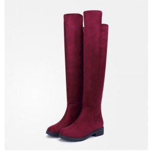 Burgundy Comfortable Shoes Suede Over-the-knee Boots for Ladies