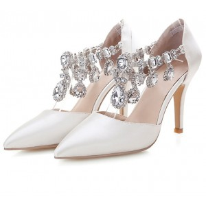 Women's White Wedding Shoes Rhinestone T-strap Stiletto Heels