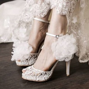 White Bridal Sandals Peep Toe Lace Ankle Strap Platform Heels