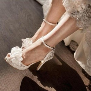 White Bridal Sandals Ankle Strap Platform Lace Heels with Flower