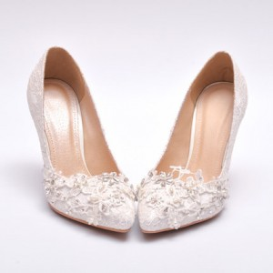 Lillian White Lace Crystal Decorated Stiletto Heel Wedding Shoes
