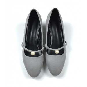 Grey Chunky Heels Round Toe Suede Block Heel Pumps with Pearls