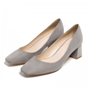 Grey Suede Chunky Heels Office Shoes Square Toe Commuting Shoes