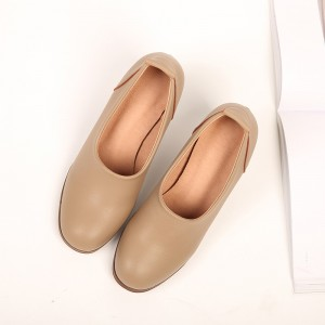 Nude Leather Mid-heel Preppy Style Warm Vintage heels