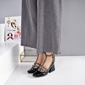 Black Vintage Heels T-strap Studded Pumps for School