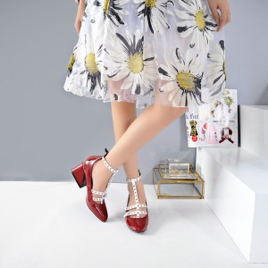Red and White T Strap Pumps Square Toe Chunky Heels
