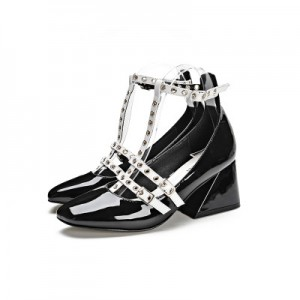 Leila Black and White T-strap Wedge Studded Vintage Heels for School