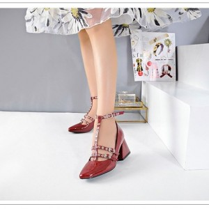 Red T Strap Shoes Square Toe Patent Leather Vintage Pumps