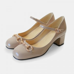 Women's Nude Vintage Heels Patent Leather Mary Jane Shoes