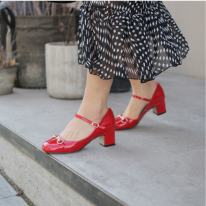 Coral Red Mary Jane Patent Leather Vintage Heels Pumps