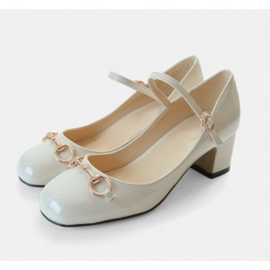Ivory Mary Jane Pumps Chunky Heels Metal Chain Vintage Shoes