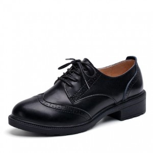 Leila Black Leather Round Toe Vintage Lace-up Flat Women's Oxfords
