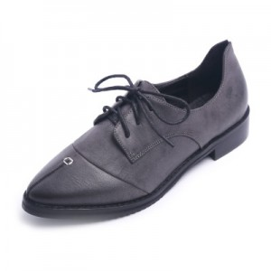 Navy Leather Pointed Toe Vintage Lace-up Flat Women's Oxfords