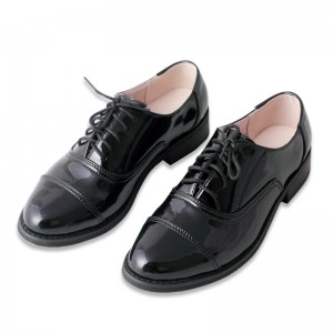 Leila Black Patent Leather Round Toe Vintage Lace-up Flat Women's Oxfords