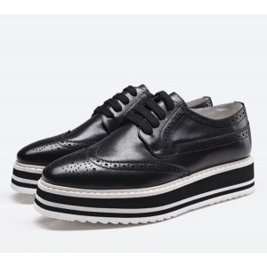 Black Women's Oxfords Lace-up Square Toe Platform Shoes