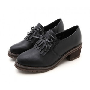 Black Vintage Shoes Fringe Brogues Chunky Heel Pumps