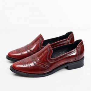 Burgundy Wingtip Shoes Vintage Flat Women's Loafers