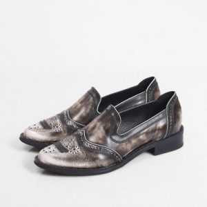 Women's Oxfords Brown Round Toe Slip-on Flat Vintage Shoes