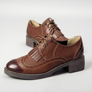 Brown Women's Oxfords Wingtip Shoes Lace-up Fringe Vintage Brogues