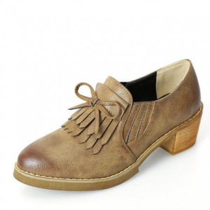 Women's Khaki Slip-on Fringed Brogues Vintage Chunky Heels Shoes