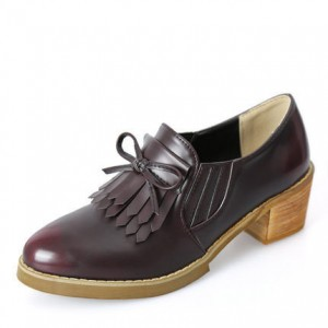 Women's Maroon Slip-on Fringed Leather Brogues Chunky Heels Shoes