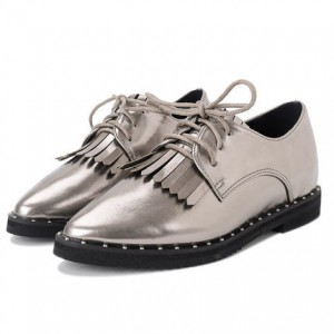 Silver Fringed Pointed Toe Vintage Lace-up Women's Oxfords Brogues
