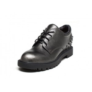 Leila Black Round Toe Vintage Lace-up Tread Sole Rivets Decorated Women's Oxfords
