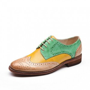 Yellow and Green Women's Oxfords Lace up Flats Vintage Shoes
