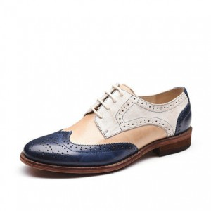 White and Navy Stitching Color Round Toe Vintage Lace-up Flat Women's Oxfords