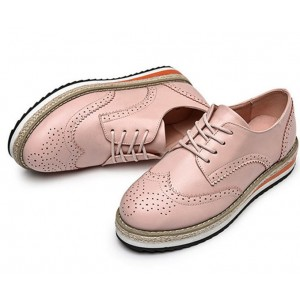 Pink Wingtip Shoes Lace up Round Toe Vintage Women's Oxfords