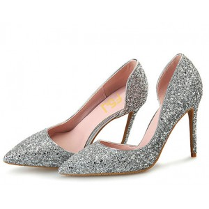 Silver Sparkly Heels Pointy Toe Stilettos Glitter Pumps