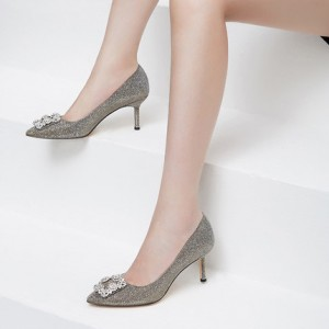 Champagne Wedding Heels Rhinestone Stilettos Pumps for Bridesmaid